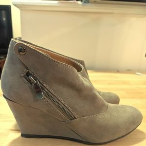 CL by Laundry Suede Wedge Booties